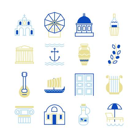Greece symbols in beautiful colors. For magazines, web, tourism. Travel to Greece elements.