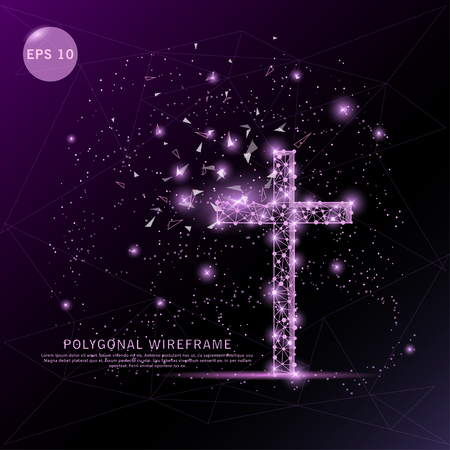 Photo pour Religion cross digitally drawn futuristic low poly wire frame shape point, composition and lines vector illustration on purple background. - image libre de droit