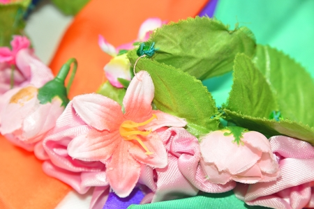 color circlet of flowers with long ribbons