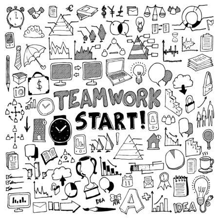 Illustration pour Business doodle set. Drawing vector illustration hand drawn - image libre de droit