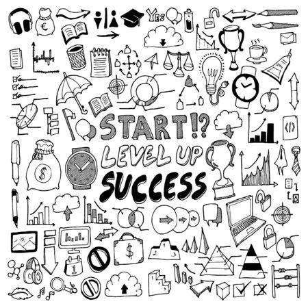 Illustration for Business doodle set. Drawing vector illustration hand drawn - Royalty Free Image