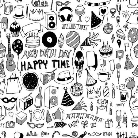 Illustration for Party doodle background seamless pattern. Drawing vector illustration hand drawn - Royalty Free Image