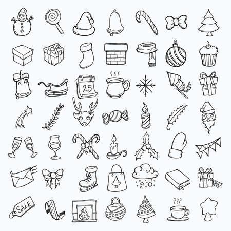 Illustration for Christmas hand drawn icon illustration line art doodle. - Royalty Free Image