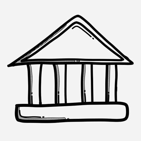 Illustration for Bank building doodle vector icon. Drawing sketch illustration hand drawn line. - Royalty Free Image