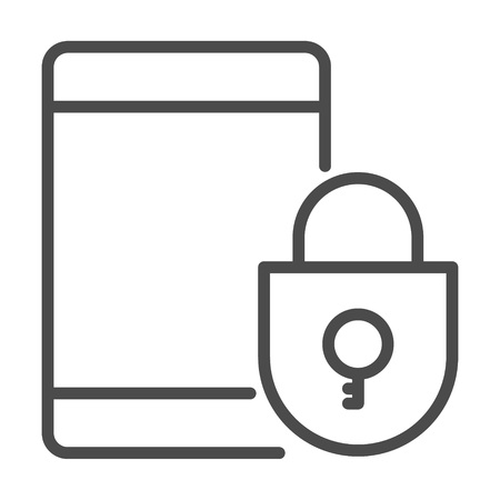 lock in a smart phone icon. Element of cyber security icon for mobile concept and web apps. Thin line lock in a smart phone icon can be used for web and mobile on white background. Eps 8