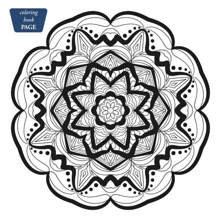 Illustration pour Mandala. Coloring book pages. Indian antistress medallion. Abstract islamic flower, arabic henna design, yoga symbol. Vector illustration w - image libre de droit