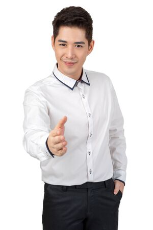 Photo for Happy young businessman in suit looking at camera on white background, isolated concept - Royalty Free Image