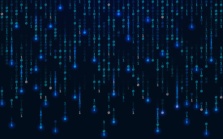 Binary background. Matrix concept. Falling digits on dark backdrop. Running bright numbers with lights. Abstract binary code. Blue futuristic technology wallpaper. Vector illustration