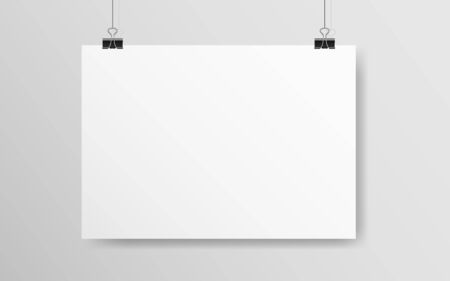 Illustration for White horizontal poster mockup. Empty A4 paper hanging on a wall. Light blank on a rope. Realistic template with soft shadow. White banner with clips. Vector illustration. - Royalty Free Image