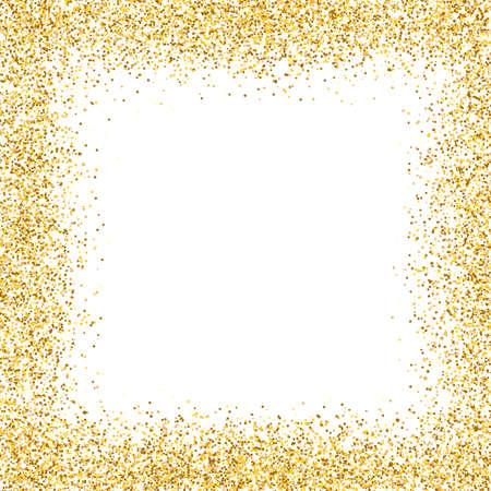 Illustration pour Glitter gold frame on white background. Golden border design. Luxury greeting card template. Shining confetti particles. Bright dust decoration. Vector illustration - image libre de droit