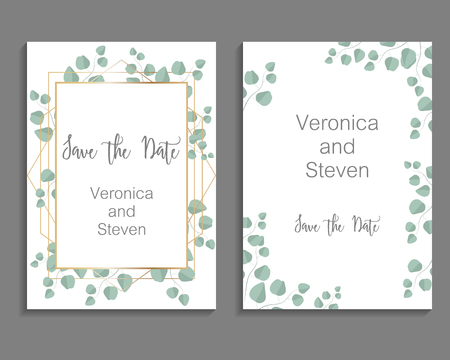 Foto de Wedding Invitation, leaves invite card. Design with eucalyptus branch - Imagen libre de derechos
