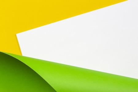 Photo pour Abstract geometric white yellow and green color paper background. - image libre de droit