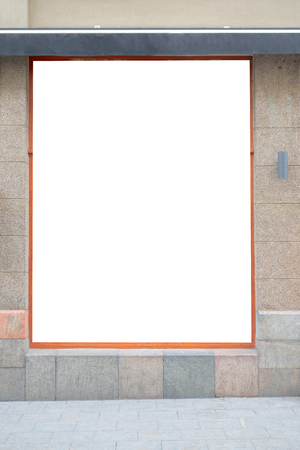 Photo for Mock up. Blank advertising billboard, signboard, store showcase window on the wall - Royalty Free Image