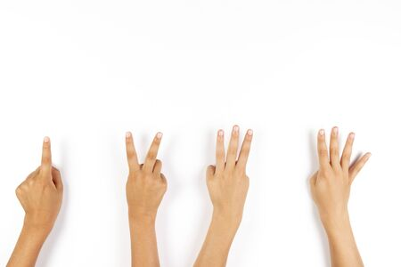 Photo pour Kid hands pointing down with fingers to something on white background - image libre de droit