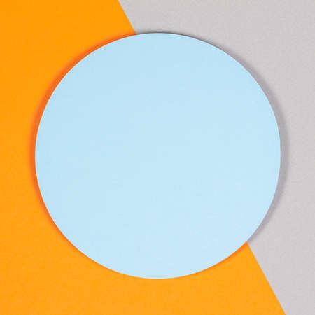 Photo pour Abstract geometric texture background of soft light blue, pastel gray and orange color paper. Top view, flat lay - image libre de droit