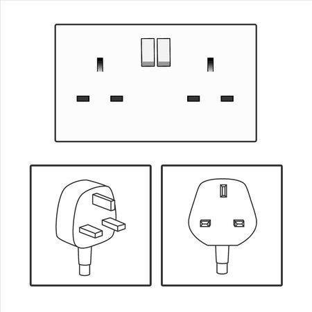 plug and UK socket. Three 3 pin plug icon set. British socket. Electric power. vector graphic illustrated. Three pin socket sheme isolated vector graphic illustration. simple electrical diagram