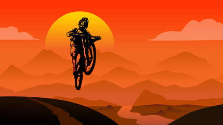 Illustration pour MTB rider jump sunset in mountains view background  flat style illustration vector - image libre de droit