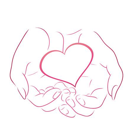 Illustration pour Contour pink heart in women contour hands for your design - image libre de droit
