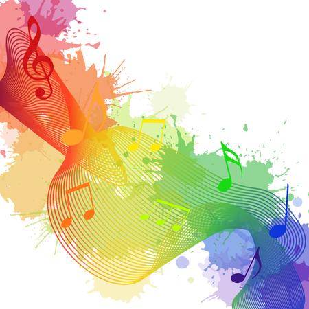 Ilustración de Illustration with rainbow musical notes, waves and watercolor splashes for your creativity - Imagen libre de derechos