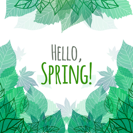 Illustration pour Spring vector card with doodle and green leaves for postcard, flyers, brochures and your business - image libre de droit