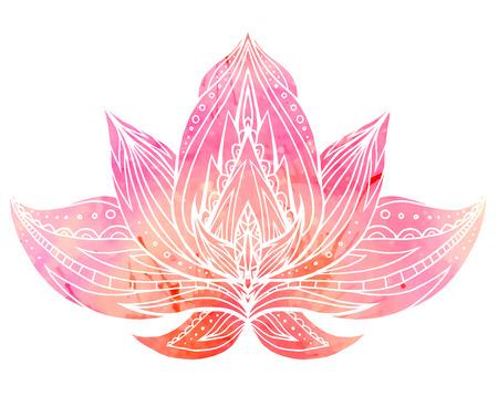 Illustration pour Color Lotus with boho pattern and watercolor background. Vector element for spa centers, yoga studios. Hand drawn. Doodle elements for your design - image libre de droit