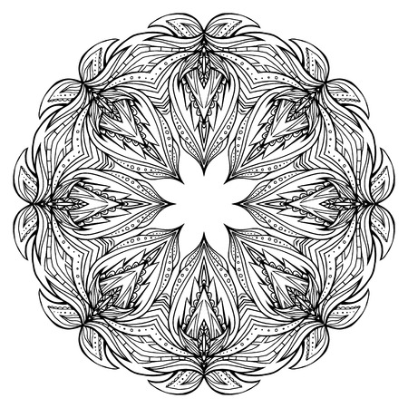 Illustration for Round black and white mandala with boho pattern. Vector element for invitations, scrapbooking, prints for t-shirts for your creativity - Royalty Free Image