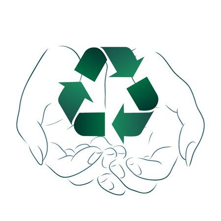 Illustration for Outline drawing of hands holding a sign of recycling. Recycling and Zero Waste. Ecological vector element for logos, icons, banners and your design - Royalty Free Image