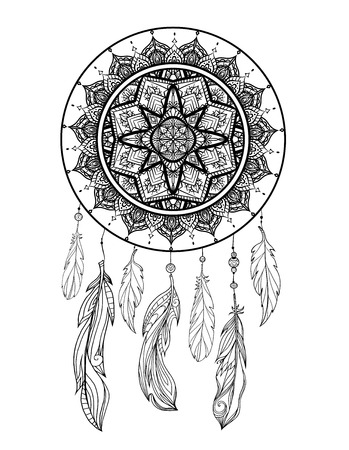 Illustration pour Mystical illustration of a dreamcatcher with a boho tracery pattern, feathers with beads on a white background. Vector magic tribal card for coloring pages and your creativity. - image libre de droit