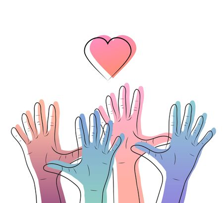 Linear illustration of color gradient human hands with hearts. International day of friendship and kindness. The unity of people. Vector element