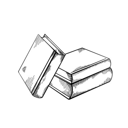 Illustration pour Sketch piles of books with hatching. Engraving black and white drawing. Knowledge and wisdom. Vector image for badges, cards, slides and your creativity. - image libre de droit