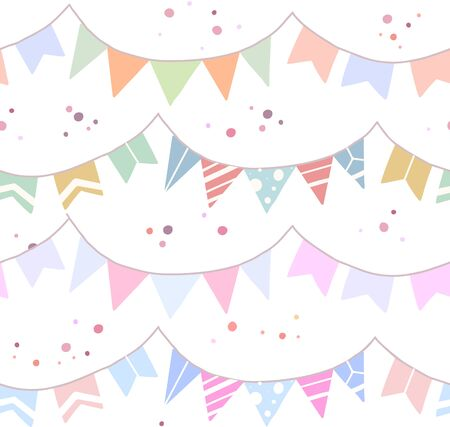 Illustration for Seamless festive pattern with flat drawn flags, confetti on white background. Wallpaper for birthday and anniversary. Vector texture for fabrics, wrapping paper and your creativity. - Royalty Free Image