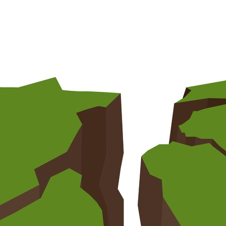 Illustration pour Vector flat illustration of an earthquake. Splits and cracks. Faults in the ground. Natural disaster. Modern cataclysm. Ravine and rocks on white background. Object for article, slide and your design. - image libre de droit