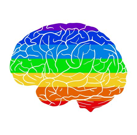Ilustración de Human brain with a rainbow background. Different love. Month of pride to be yourself. Creativity and human development. Vector element, icons and your design. - Imagen libre de derechos