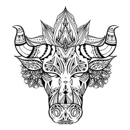 Foto de Outline illustration of a bull head with boho decoration and mandala. The symbol of the new year 2021. Contour native buffalo with horns. Vector illustration of animal head for tattoo and your design - Imagen libre de derechos