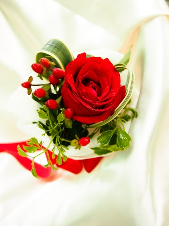 a Red Rose Bouquet with Red Ribbon