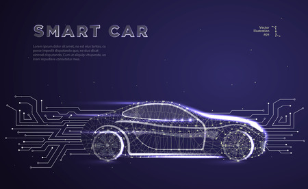 Illustration pour Autonomous car vehicle with circuit board.Abstract vector of a smart or intelligent car in the form of a starry sky or space, consisting of points, lines, in the form of planets,stars and the universe - image libre de droit