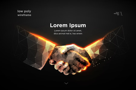 Ilustración de Abstract image two hands handshake in the form of a starry sky or space, consisting of points, lines, and shapes in the form of planets, stars and the universe. vector Futuristic concept. Blockchain - Imagen libre de derechos