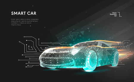 Ilustración de Smart or intelligent car. Sport car with polygon line on abstract background. Polygonal space low poly with connecting dots and lines. Connection structure. Vector speed concept background. - Imagen libre de derechos