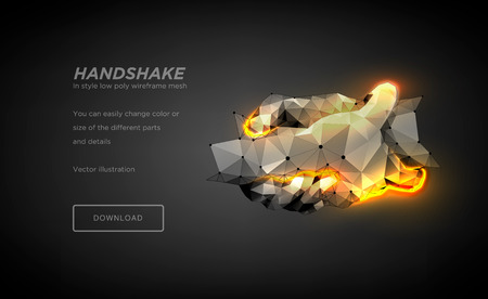 Illustration pour Handshake low poly wireframe art on black background. Hand gesture of help or support or energy or power.The concept of steel hands. Polygonal illustration with connected dots and polygon lines.Vector - image libre de droit