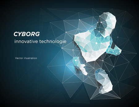 Illustration pour Cyborg. Robot. A man who has rushed out of the net, Network connection turned into. Symbolizing the meaning of artificial intelligence and big data. vector illustration - image libre de droit