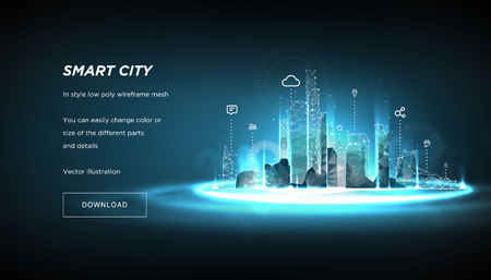 Illustration pour Smart city low poly wireframe on blue background.City future abstract or metropolis.Intelligent building automation system business concept.Polygonal space low poly with connected dots and lines.Vecto - image libre de droit