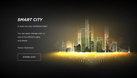 Illustration pour Smart city low poly wireframe on dark background.City hi tech abstract or metropolis.Intelligent building automation system business concept.Polygonal space low poly with connected dots and lines - image libre de droit