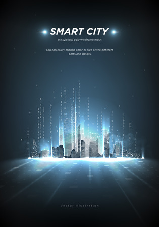 Illustration pour Smart city low poly wireframe on blue background.City future abstract or metropolis.Intelligent building automation. Binary code stream. Polygonal space low poly with connected dots and lines.Vector - image libre de droit