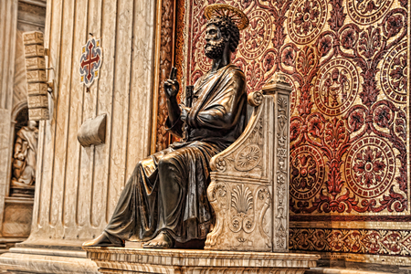 Vatican, Rome, Italy. Bronze statue of Saint Peter holding the keys of heaven in the St. Peter's Basilica. Attributed to Arnolfo di Cambio.