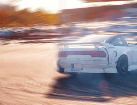 Photo pour Car drifting, Blurred of image diffusion race drift car - image libre de droit
