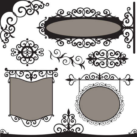 Wrought iron vintage signs and elements for design