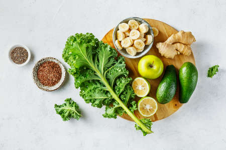 Photo for Organic vegetables for green smoothies. Healthy food, top view. - Royalty Free Image