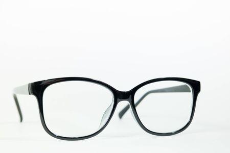 Photo pour Black spectacles on a white background. - image libre de droit