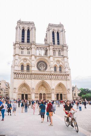July 23, 2017. Paris, France. Parvis Notre-Dame - Pl. Jean-Paul II. Notre-Dame Cathedral of Paris. Facade of the Notre-Dame cathedral of Paris.