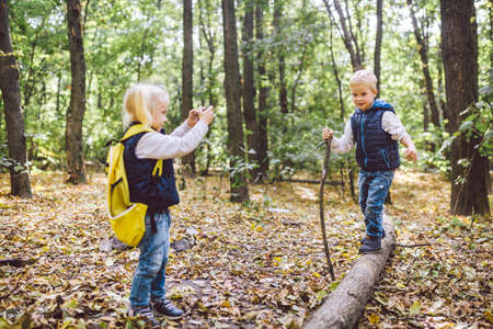 Photo for Children preschoolers Caucasian brother and sister take pictures of each other on mobile phone camera in forest park autumn. theme of hobby and active lifestyle for child. Profession photographer. - Royalty Free Image